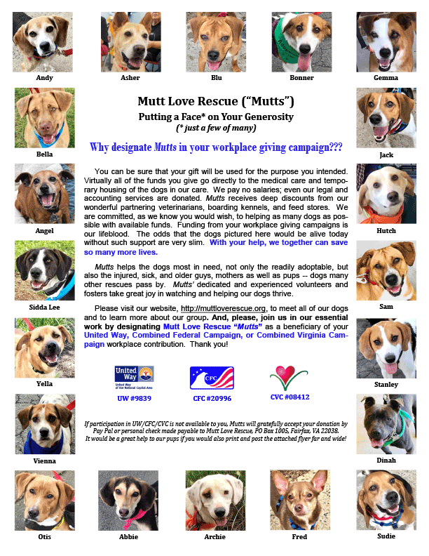 Mutt Love Rescue Fundraiser 2018 Flyer