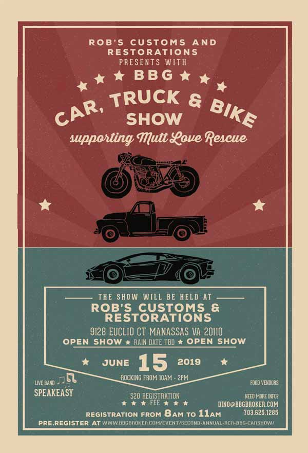 2nd Annual Rob's Customs and Restorations Car Show Flyer