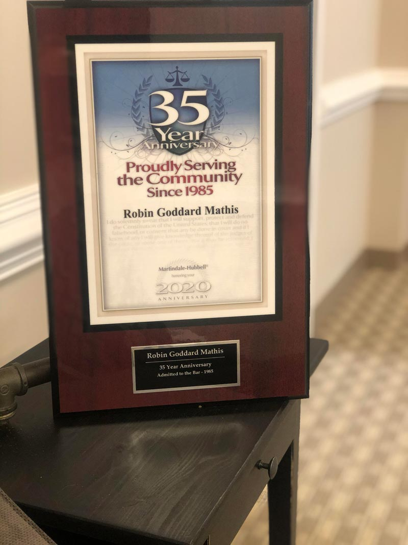 Robin Mathis - 35 Year Anniversary plaque