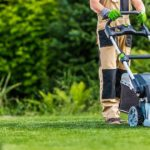 A worker Trimming grass using a lawn mower. Landscaping trends concept