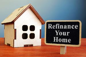 Refinance your home mortgage board and wooden house